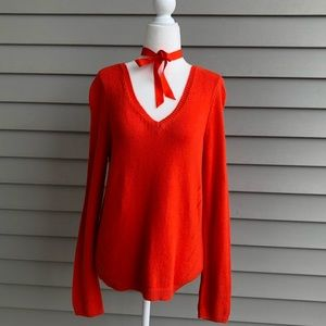 Anthropology Moth Orange v neck ribbon sweater